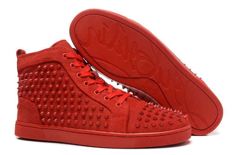 88c7e35784f5 Christian Louboutin Louis Red Spikes Mens High Top Suede Sneakers ...