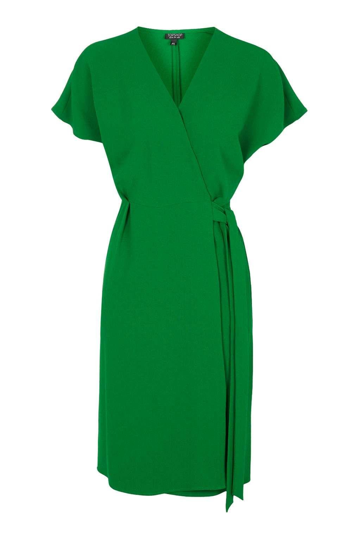 Wal g wrap detail dress with metallic stripe in blue navy lyst - Top Shop Green Wrap Dress
