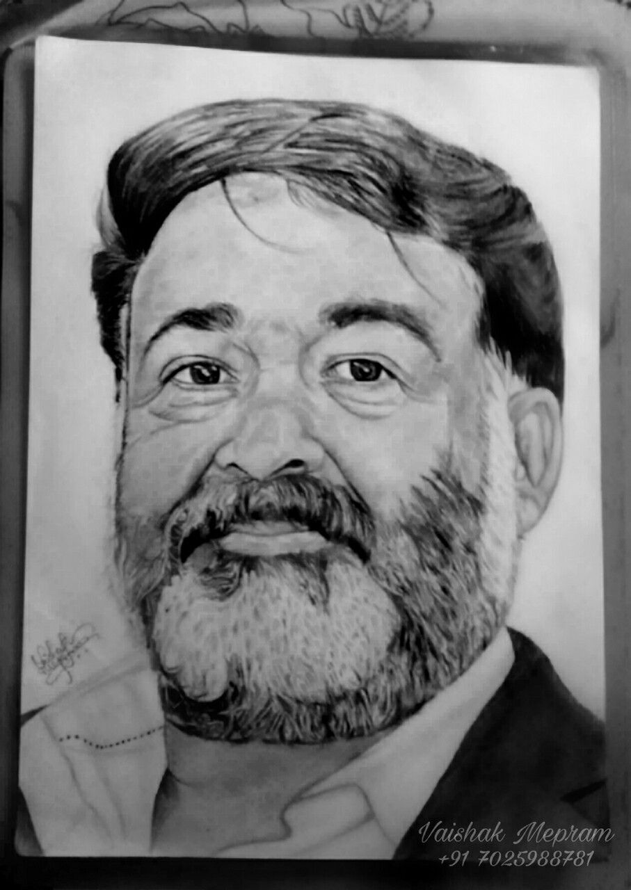 Indian actor mohanlal the complete actor malayalam movie lalettan pencil drawing of mohanlal