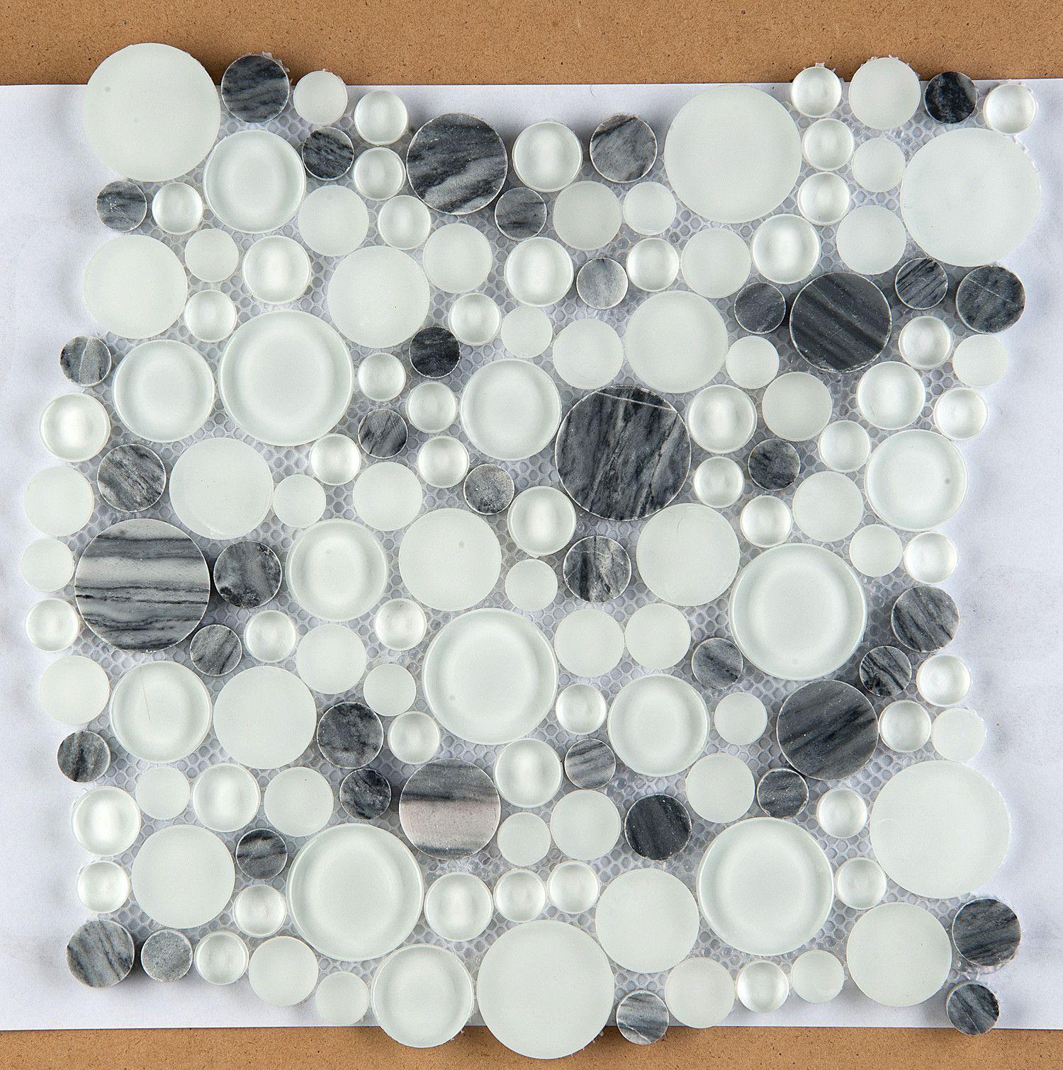 Lucente Glass Stone Blend Circle Mosaic Tile In Grazia Emser Tile Emser Mosaic Tiles