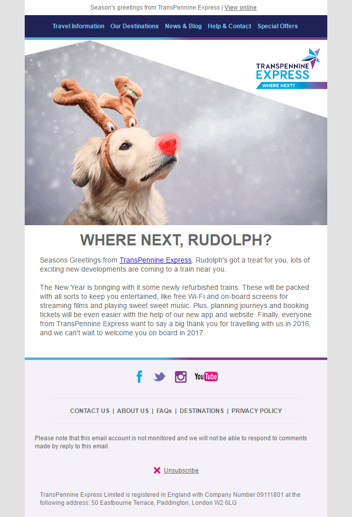 Christmas Email from Transpennine Express #EmailMarketing