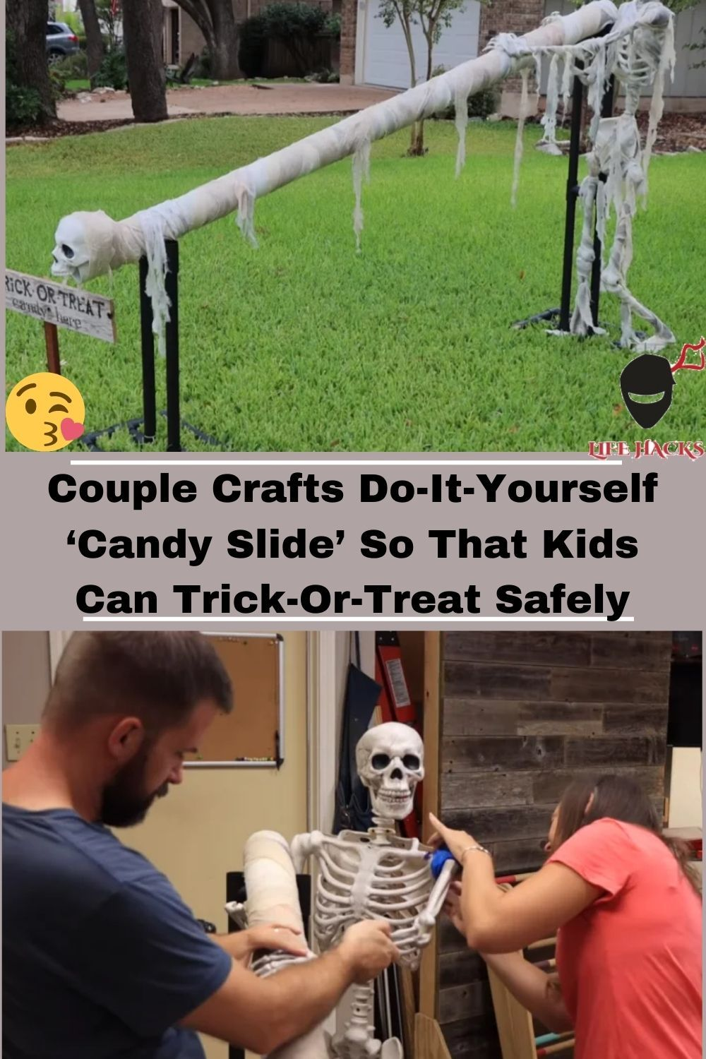 Couple crafts doityourself 'candy slide' so that kids