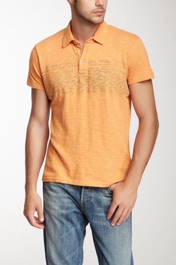 85a23f597 Printed Stripe Short Sleeve Polo Shirt