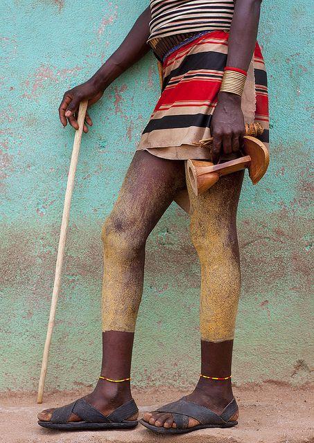 Hamer tribe man legs - Key Afer Ethiopia by Eric Lafforgue
