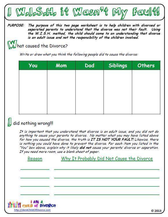 Was My Parentsu0027 Divorce My Fault? This worksheet for children of - statistics worksheet