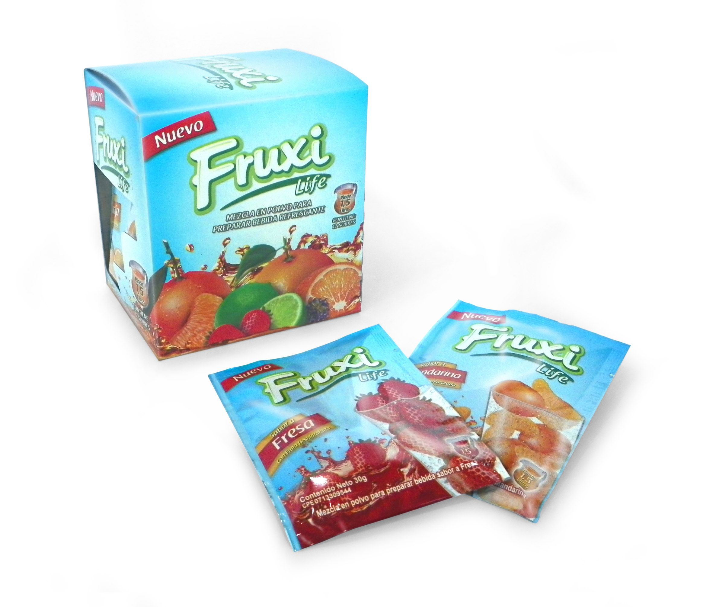 Diseño de Caja y Sobre para FRUXI LIFE, bebidas en polvo