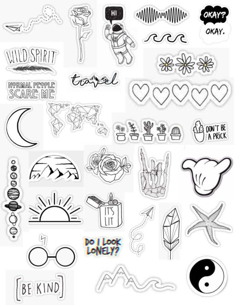 White aesthetic stickers simplistic white and black tumblr