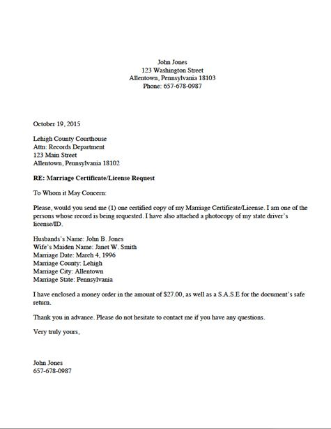 Documents And Letters Marriage Certificate License Request Letter
