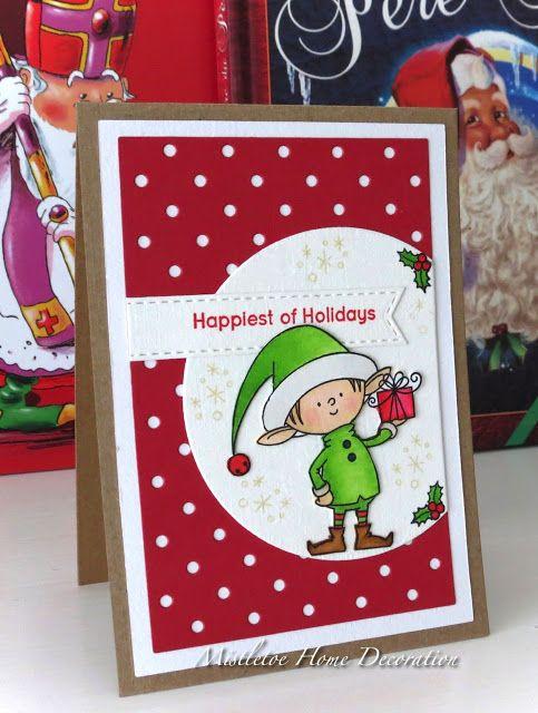 mft my favorite things santas elves christmas card with elf and polka dot background - Elf Christmas Card