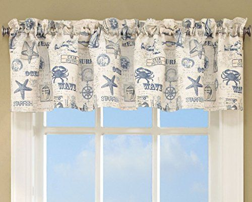 Fancy By The Sea Printed Ocean Beach Images Kitchen Curtains Tier