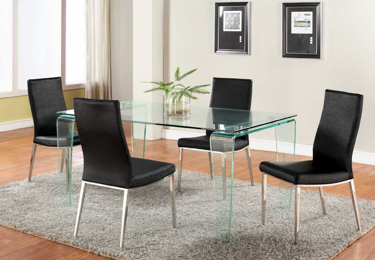 All Glass Dining Room Table contemporary all glass dining table set with black reptile leather