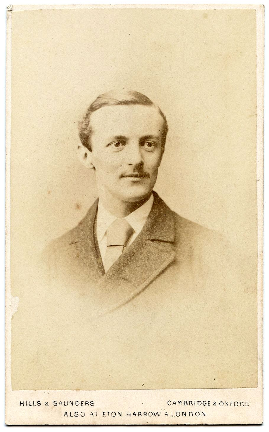 Portrait of an unknown gentleman on a carte de visite by Hills & Saunders, Cambridge & Oxford. According to Wikipedia, the Cambridge studio was bankrupt by 1892 and all records destroyed.