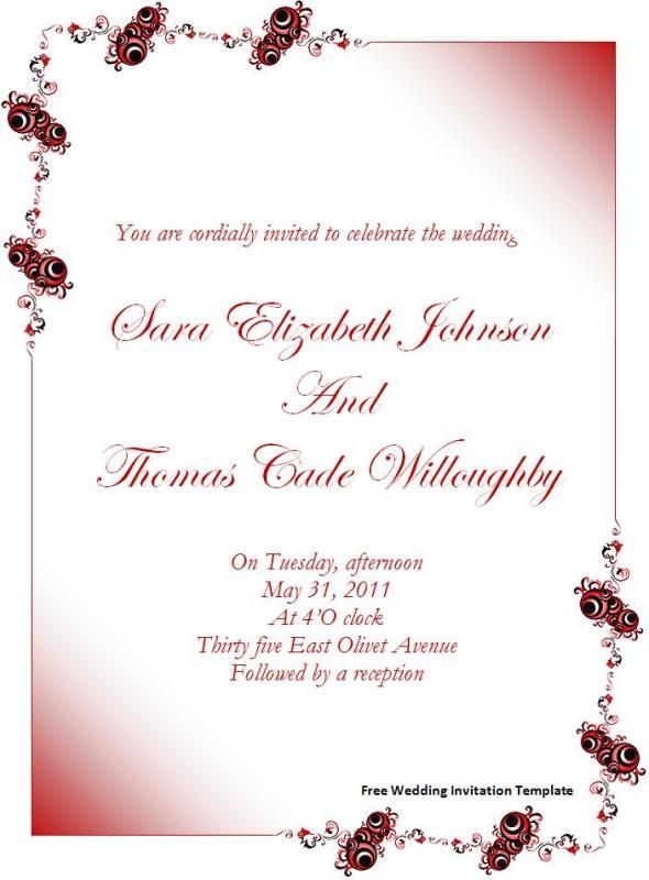 wedding invite template word free