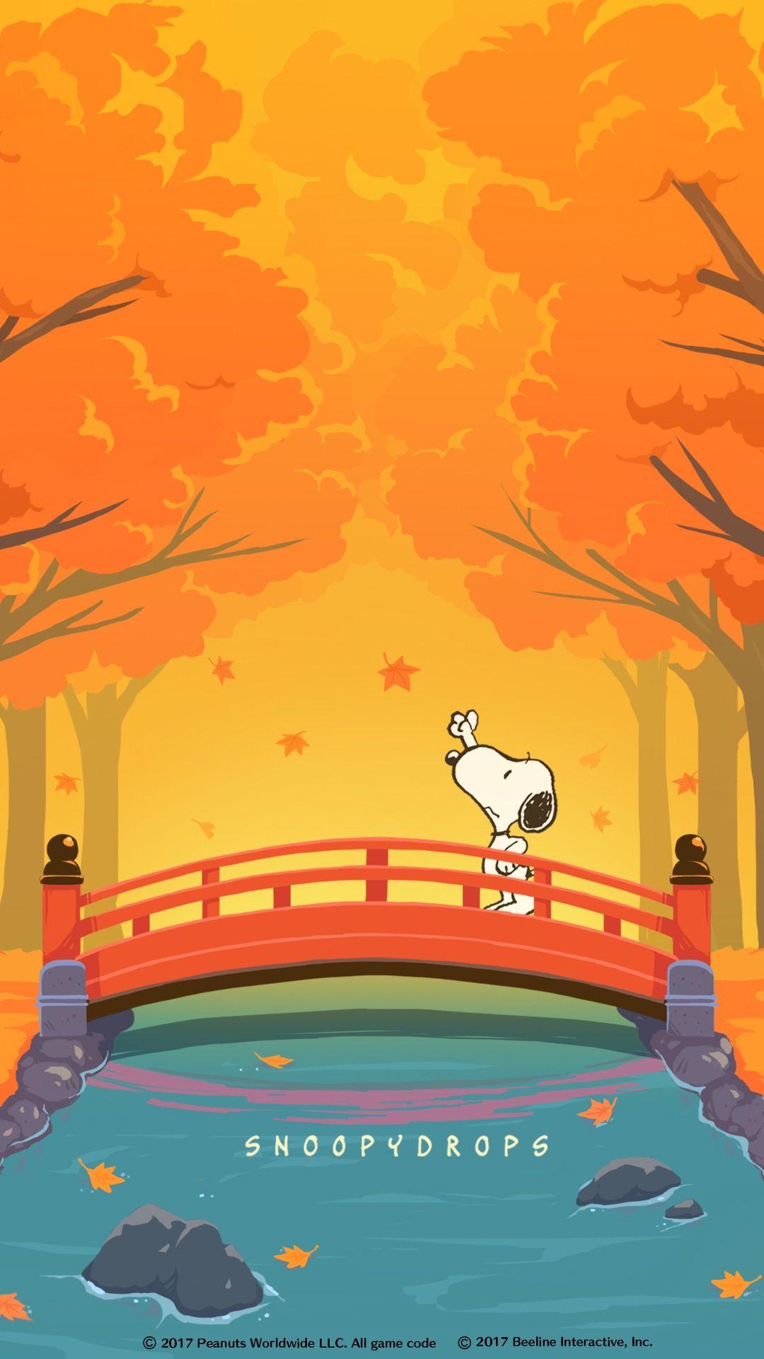 Snoopy Wallpaper Iphone 6 Snoopy スヌーピー(もみじ) スヌーピーの壁紙、スヌーピー イラスト、秋 壁紙