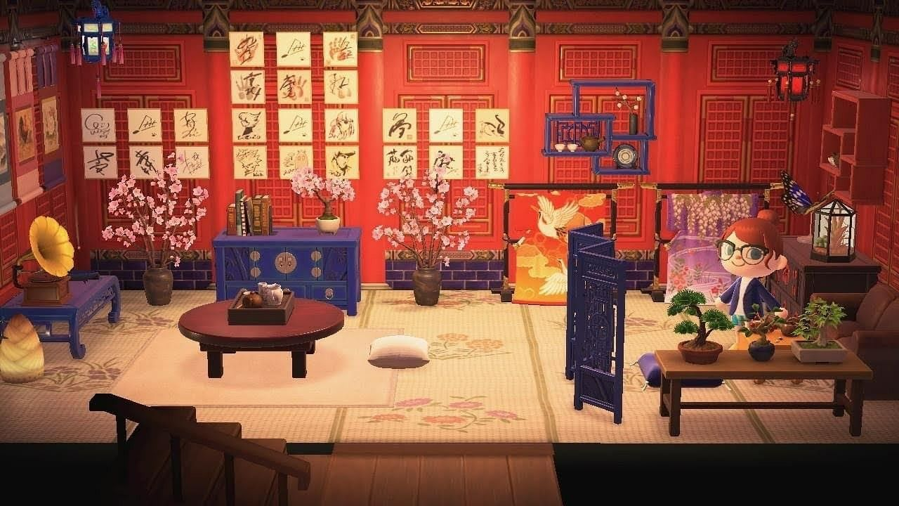 Acnh Asian Inspired Room Japanese Animals Animal Crossing Asian Room