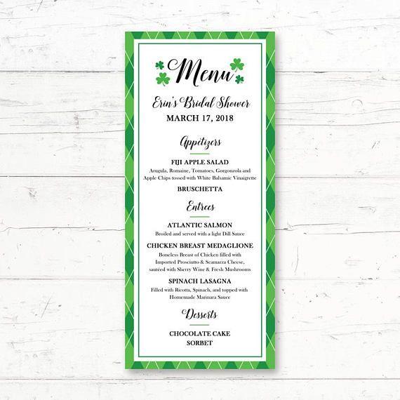 St Patricku0027s Day Printable Menu Card Wedding Bridal Shower Baby - fresh invitation card of birthday