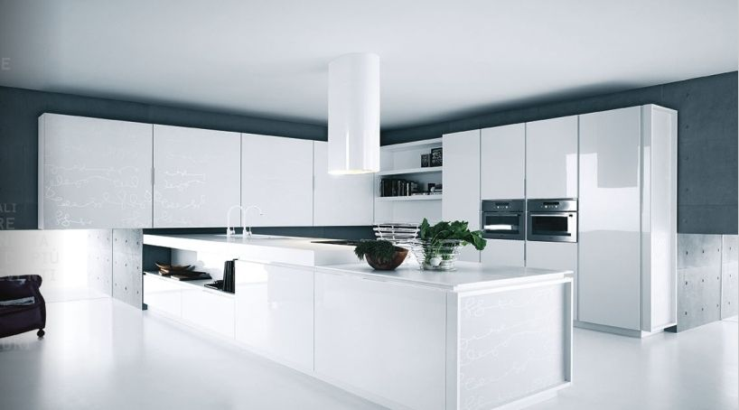 Modern Kitchen White Lacquer Cabinets For Sweet Contemporary White