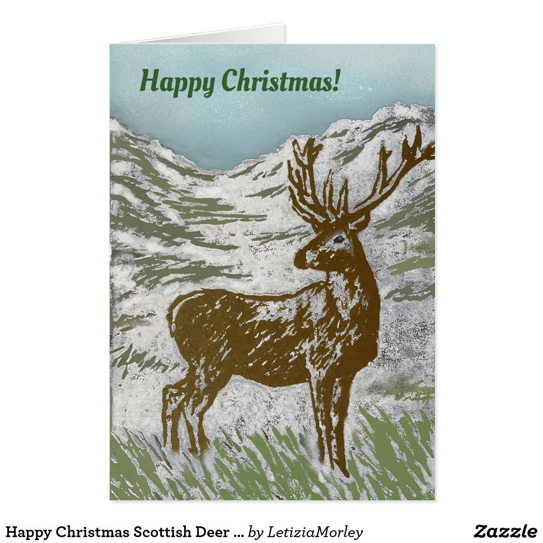 Happy Christmas Scottish Deer Snowy Glen Linocut Card