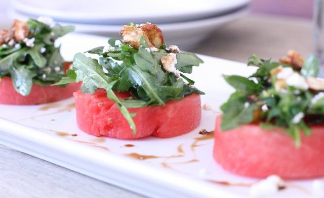 Watermelon Salad with Arugula, Goat Cheese and Candied Walnuts