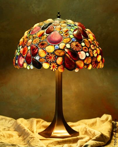 Stained Glass Conch Shell Nautical Lamp