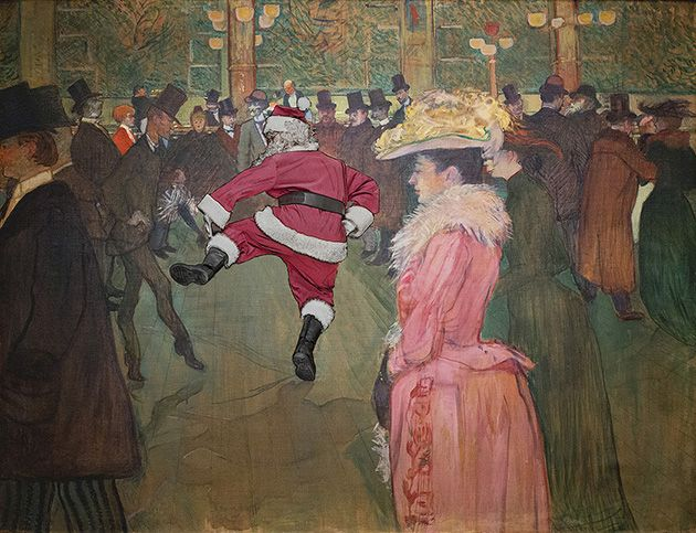 Santa (aka Ed Wheeler) visits the Moulin Rouge in Toulouse-Lautrec's painting.  http://www.santaclassics.com/