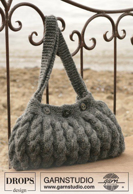 Сумка Drops с узорами из кос спицами | сумки | Pinterest