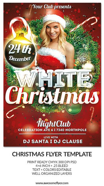 White Christmas Club And Party Psd Flyer Template Free Christmas Flyer Templates Holiday Flyer Template Christmas Flyer Template