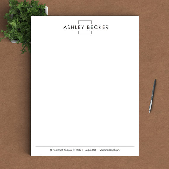 Letterhead Template For Word  Custom Letterhead  Personalized