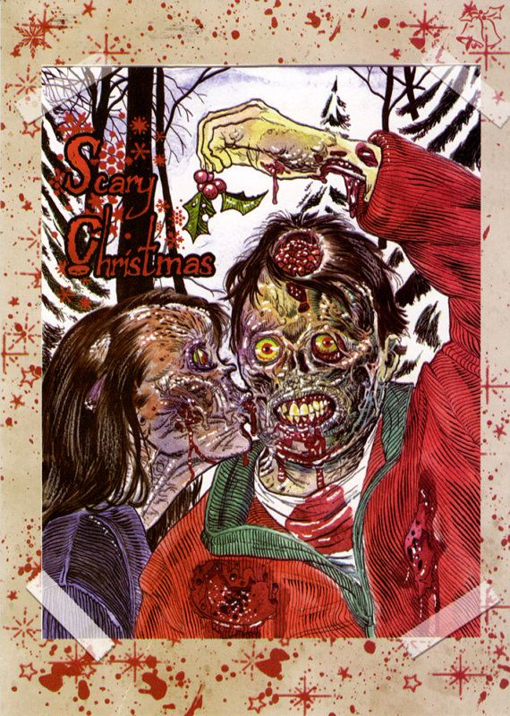 4 Pack Zombie Christmas Greeting Cards On By Zombieportraitscom