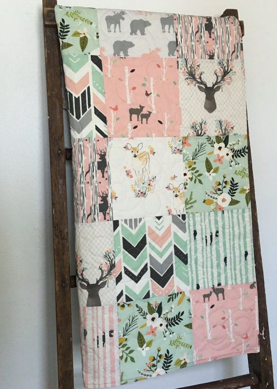 Pink Baby Quilt Deer Crib Bedding Mint Baby Quilt