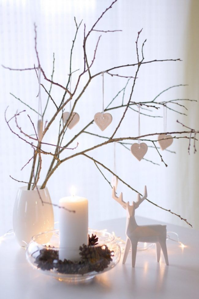 weihnachtsdeko-ideen-modern-weiss-minimalistisch-kerze-lichterkette-zapfen #xmastabledecorations