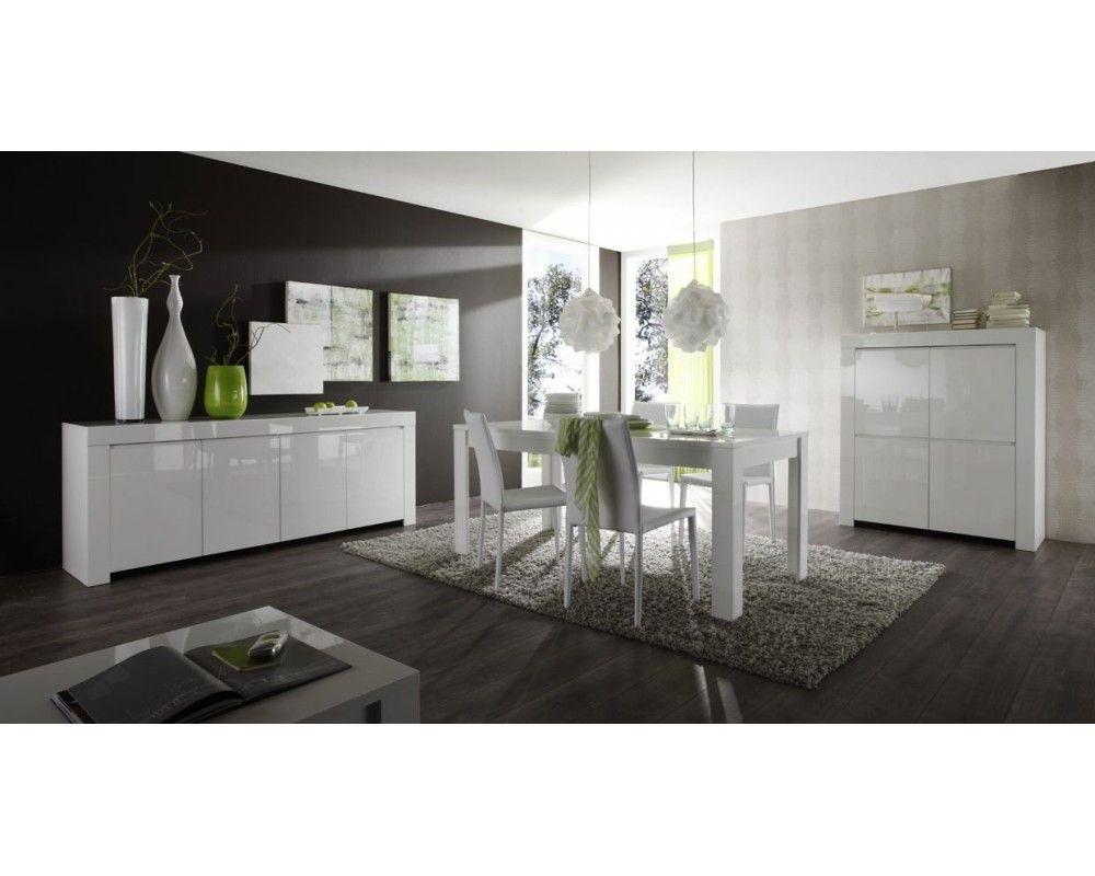 Salle à manger complète blanc laqué et décor ardoise JOSHUA | salle ...