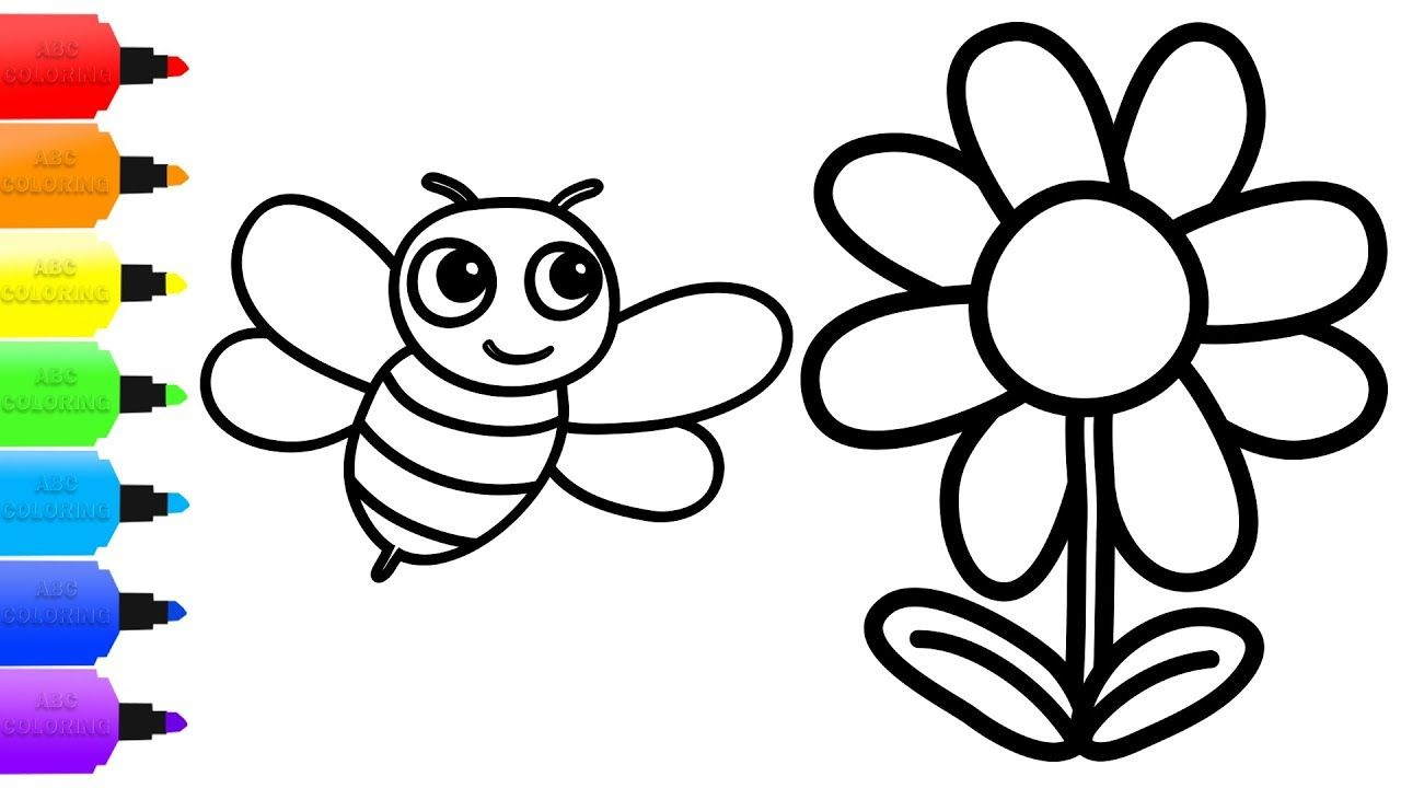 How To Draw Bee Flower Coloring Bee Flower Video For Kids Learn Bee On Flower Flower Video Coloring Books