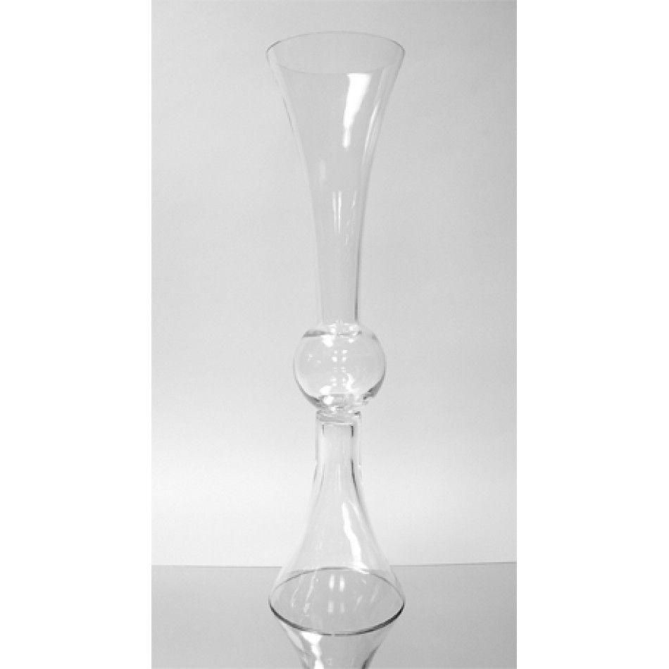 6 X 24 Clear Glass Reversible Latour Trumpet Vase Bulk Case Of 4