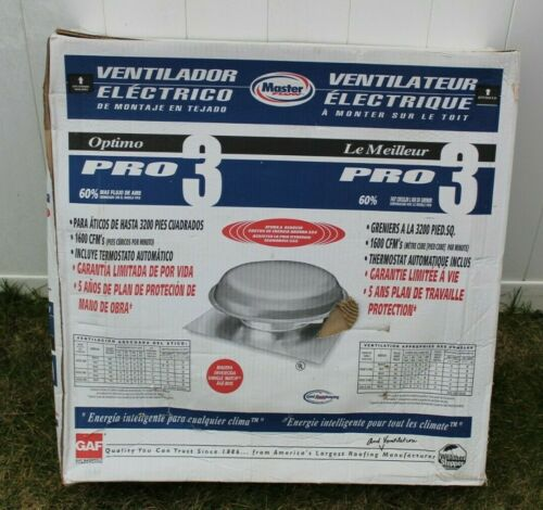 Master Flow Power Attic Ventilator Roof Mount Pro 3 1600 Cfm Auto Thermostat Ebay Masterflow Atticfan Poweratticventill Thermostat Attic Fan Fans For Sale
