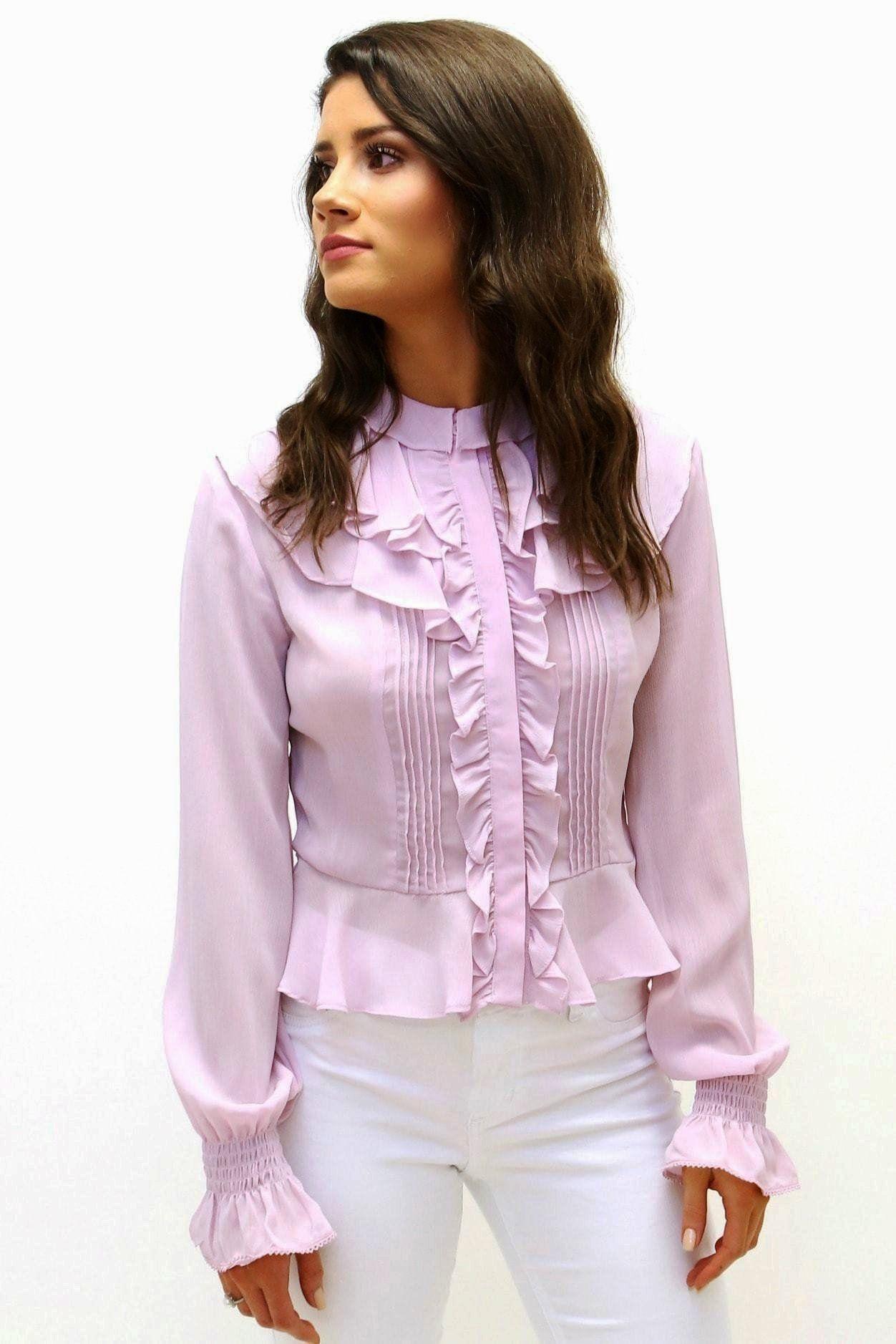 b225989e01 Semi-Sheer Ruffle Blouse in 2019 | Fashion | Ruffle blouse, Ruffles ...