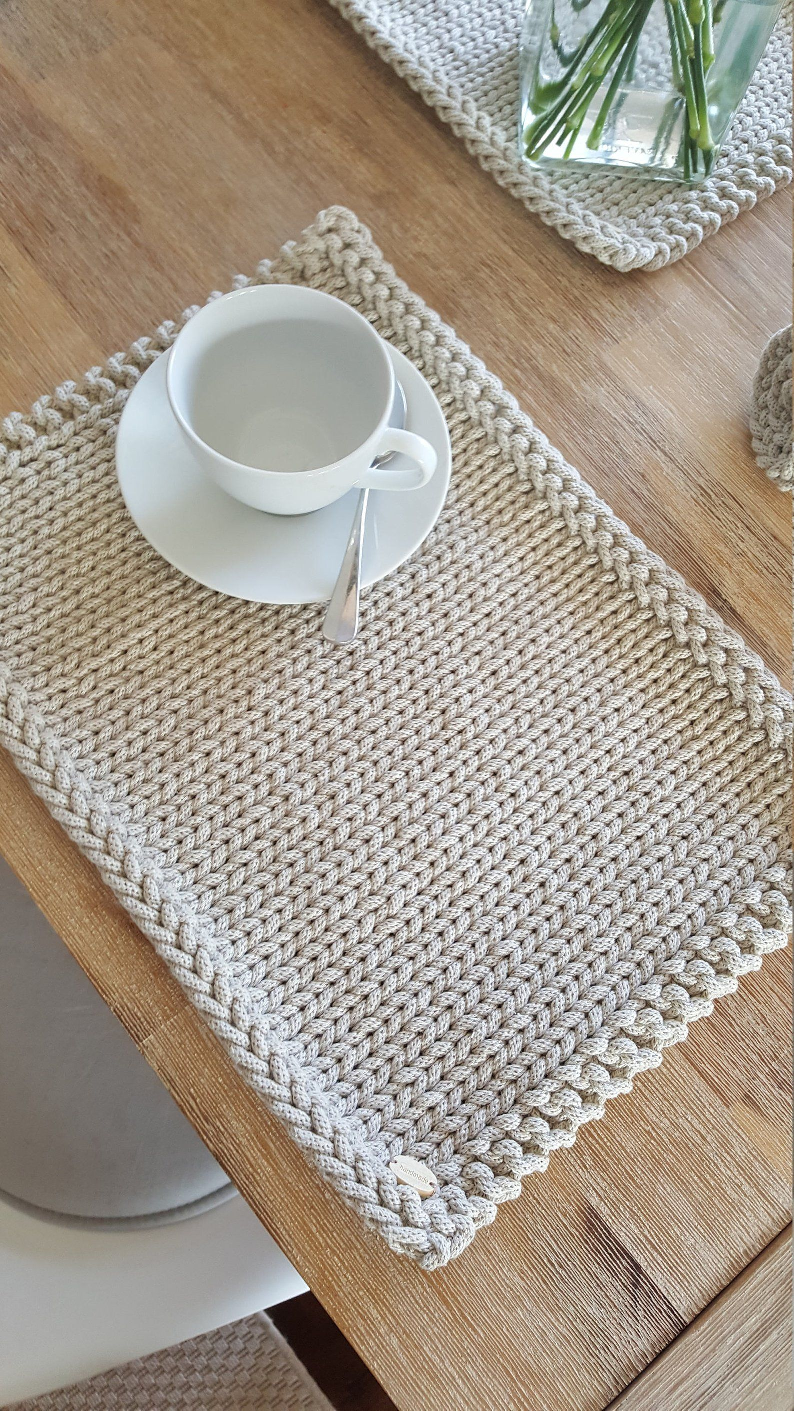 Tischset Baumwolle Placemats, Set Of 4 Knitted Cotton Placemats, Modern Table Mats, Table Decoration, Handmade Placemats, Home Decor | Tischset, Topflappen Stricken, Tischset Nähen