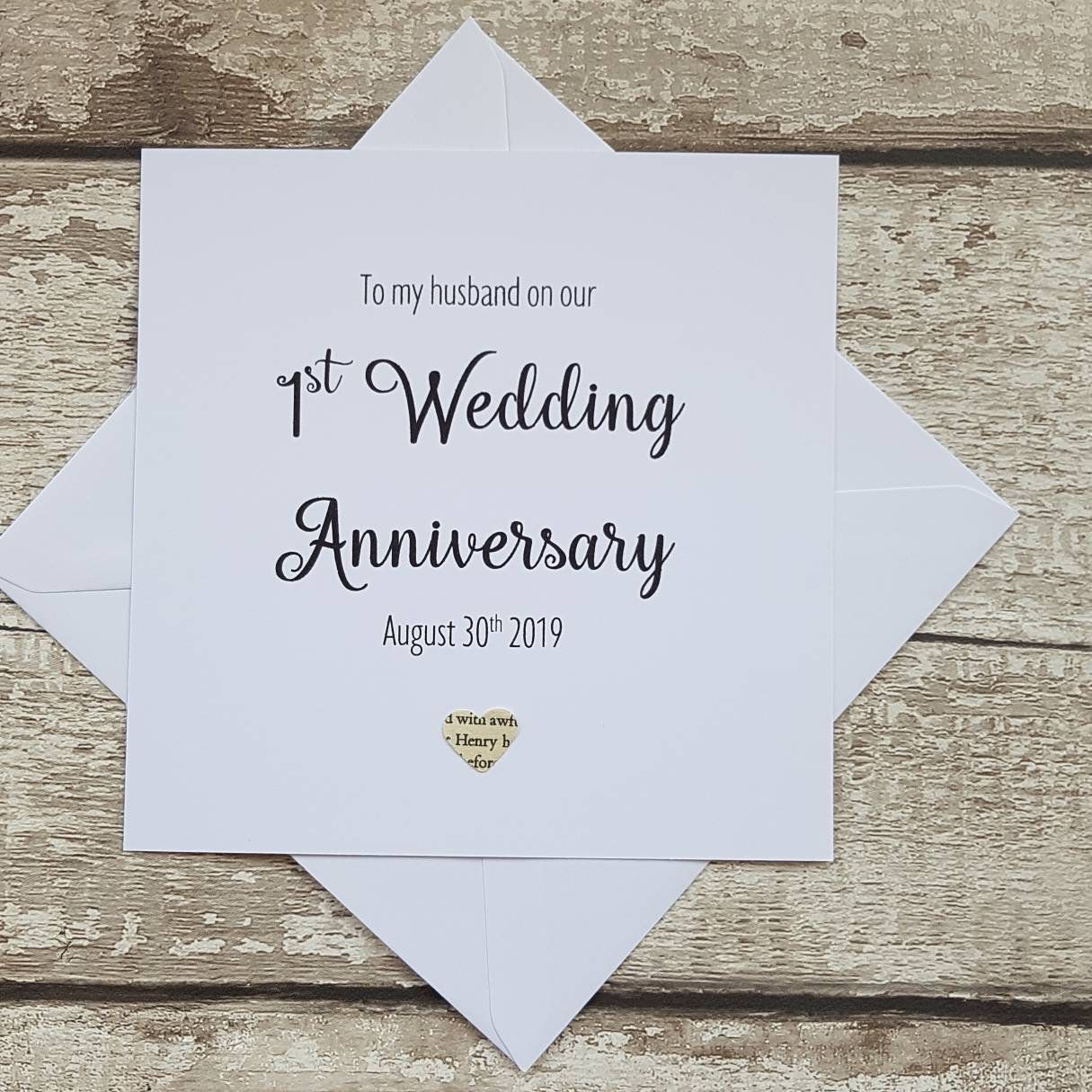 1st Wedding Anniversary Card For Husband Personalised Wedding