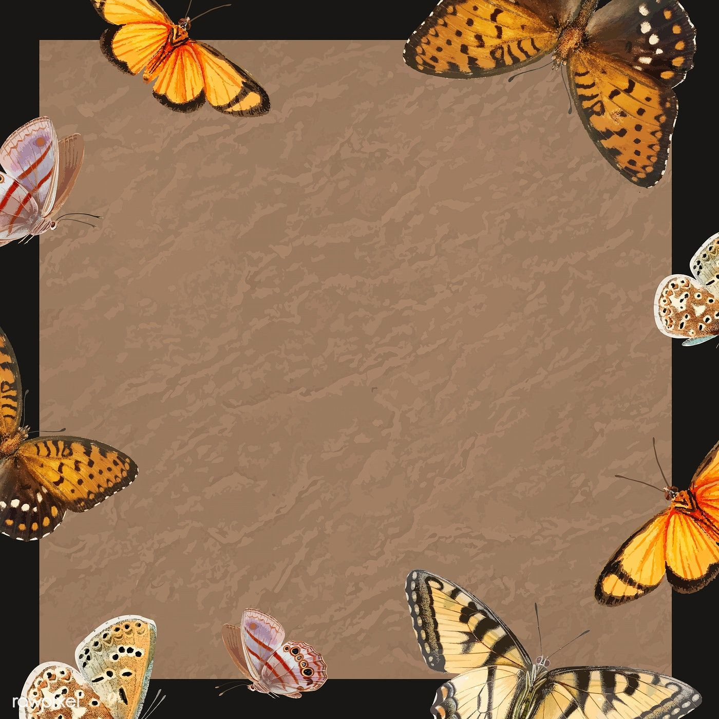 Download Premium Vector Of Butterfly Patterned On Brown Background Vector Butterfly Background Butterfly Frame Butterfly Pattern