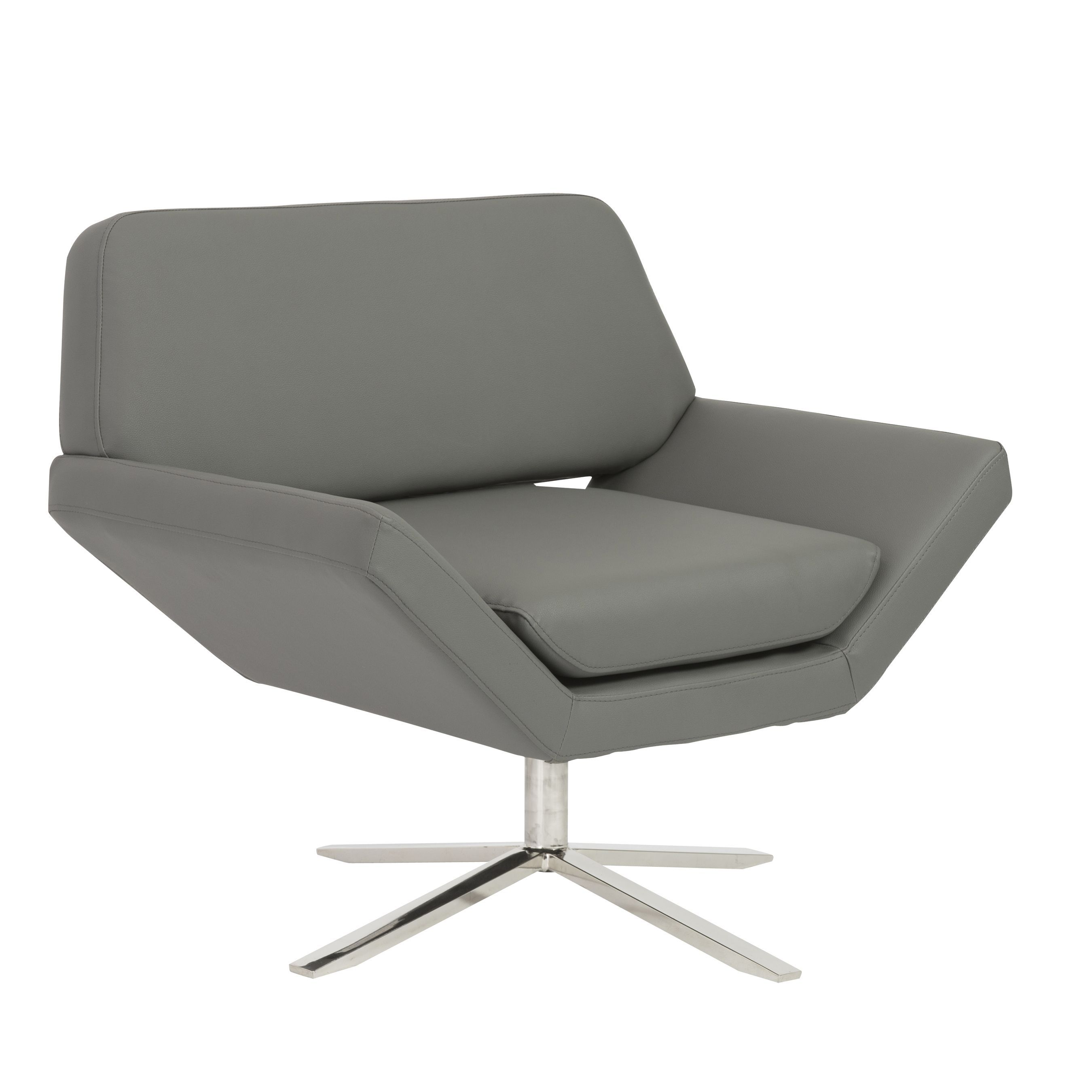 Euro Style Carlotta Lounge Chair in Gray with Brushed Stainless ...