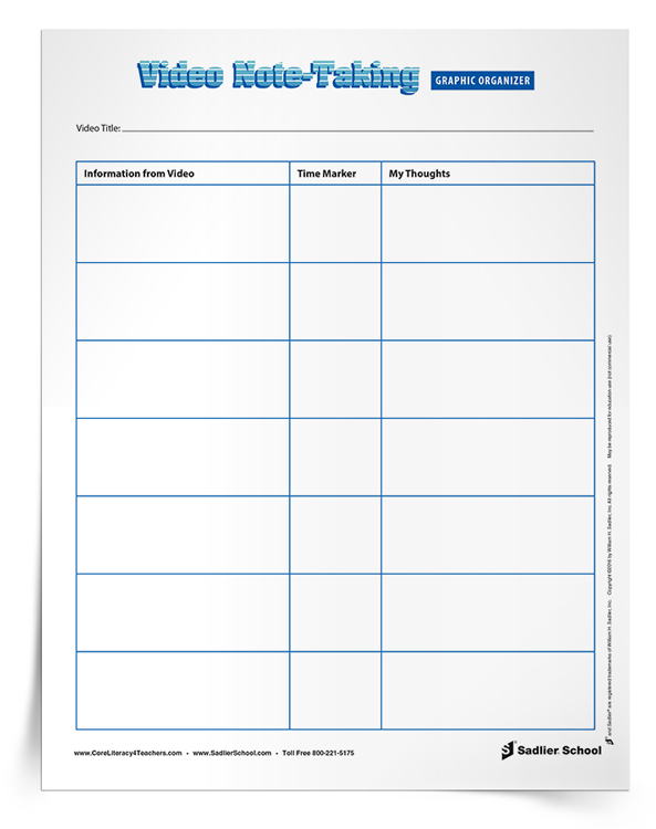Teaching Students To Take Notes From A Video Will Help Them Integrate Information From A Wide Variet Graphic Organizers Note Taking Strategies Student Teaching