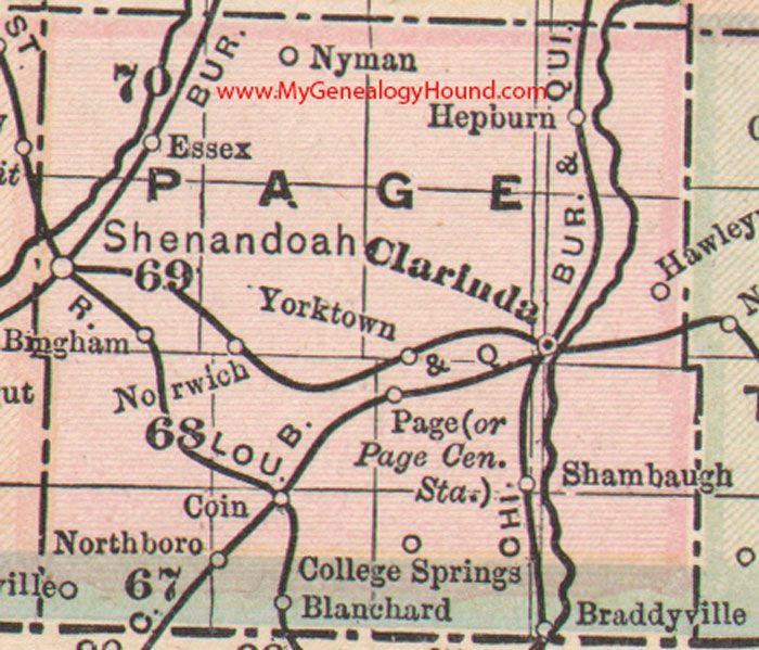 Iowa County Iowa Map.Page County Iowa Map 1905 Clarinda Shenandoah Essex Coin
