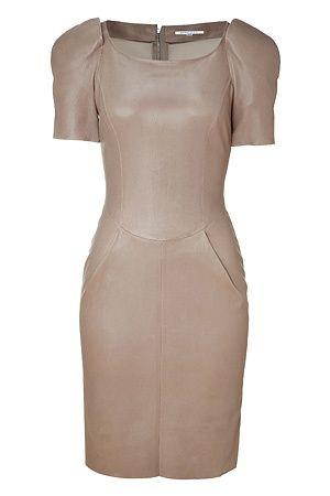 JITROIS Warm beige stretch leather dress