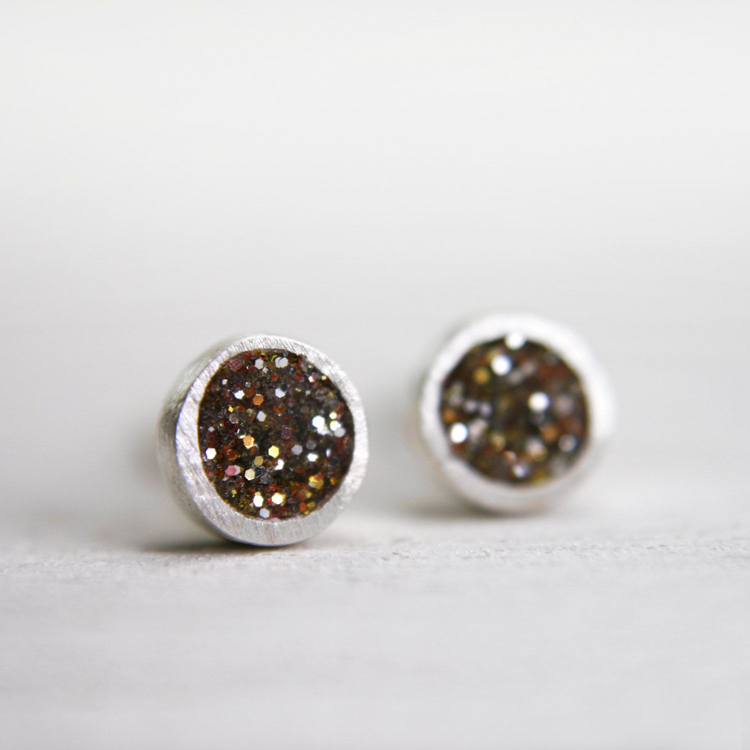 tiny silver post earrings, pmc fine silver earrings with gold