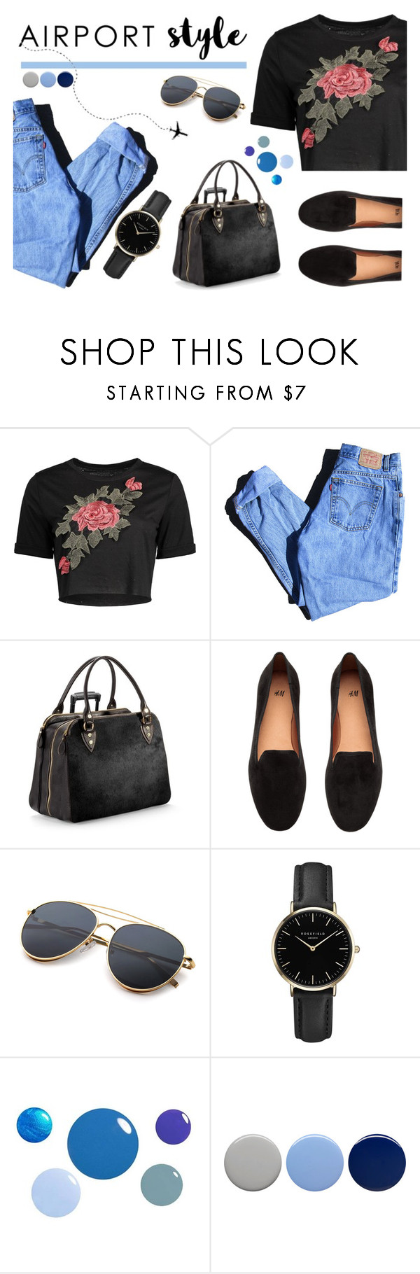 """Pilot's daugter"" by blueyed ❤ liked on Polyvore featuring Levi's, Aspinal of London, H&M, ROSEFIELD and Burberry"