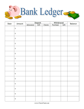 Help children learn about money with this printable bank ledger ...