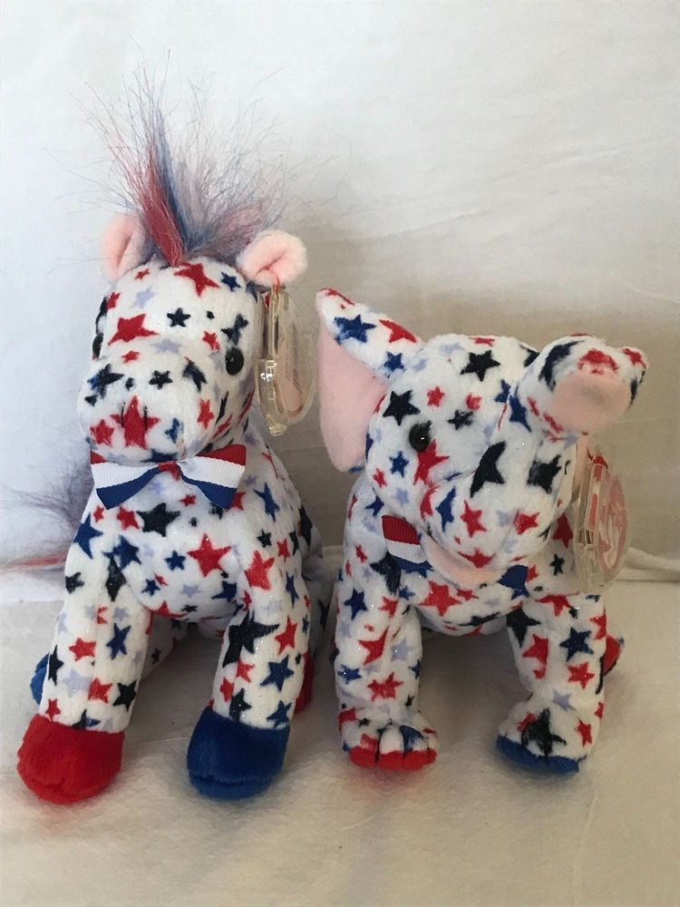 f0b7ac3a720 Ty Beanie Baby 2004 Righty   Lefty Red White   Blue Stars P.E. Pellets  Ty
