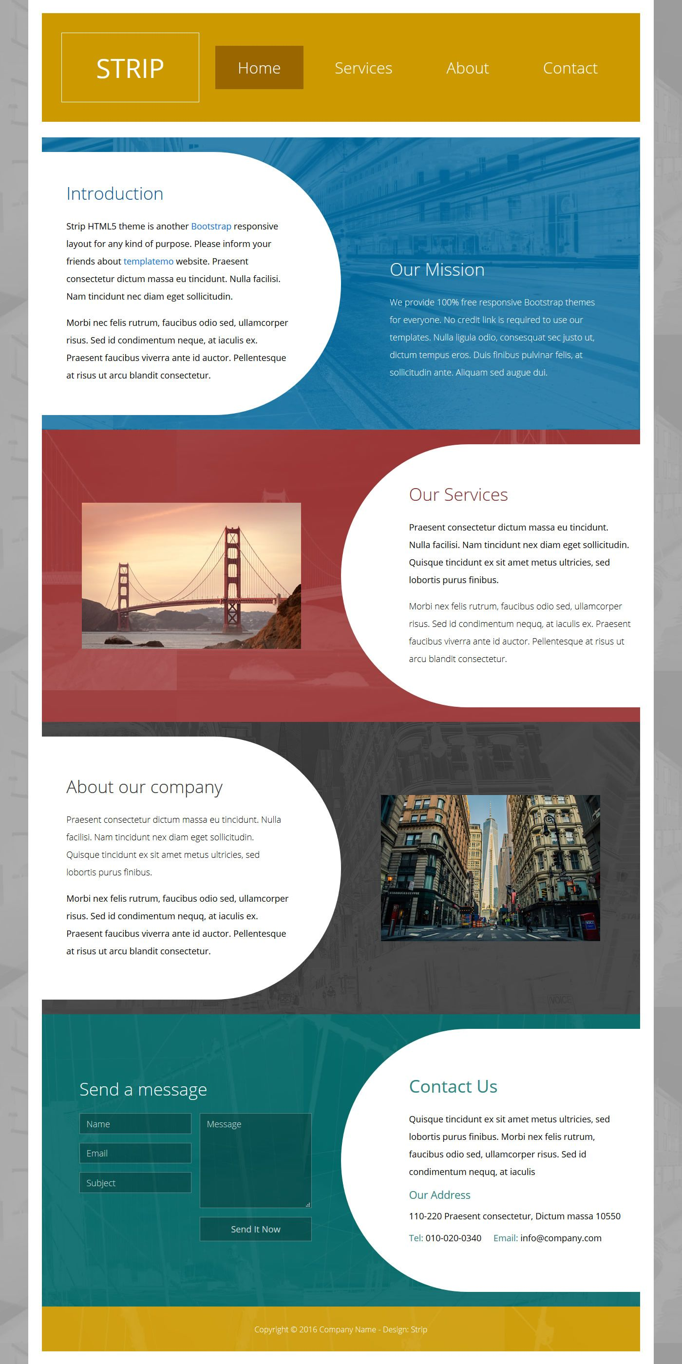 Strip HTML Bootstrap 4.0 Template, colorful alternative section ...