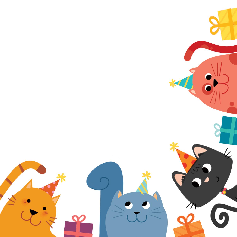 Kitty Cornered Birthday Invitation Template Free Greetings Island Happy Birthday Cards Happy Birthday Cards Printable Cat Birthday Party