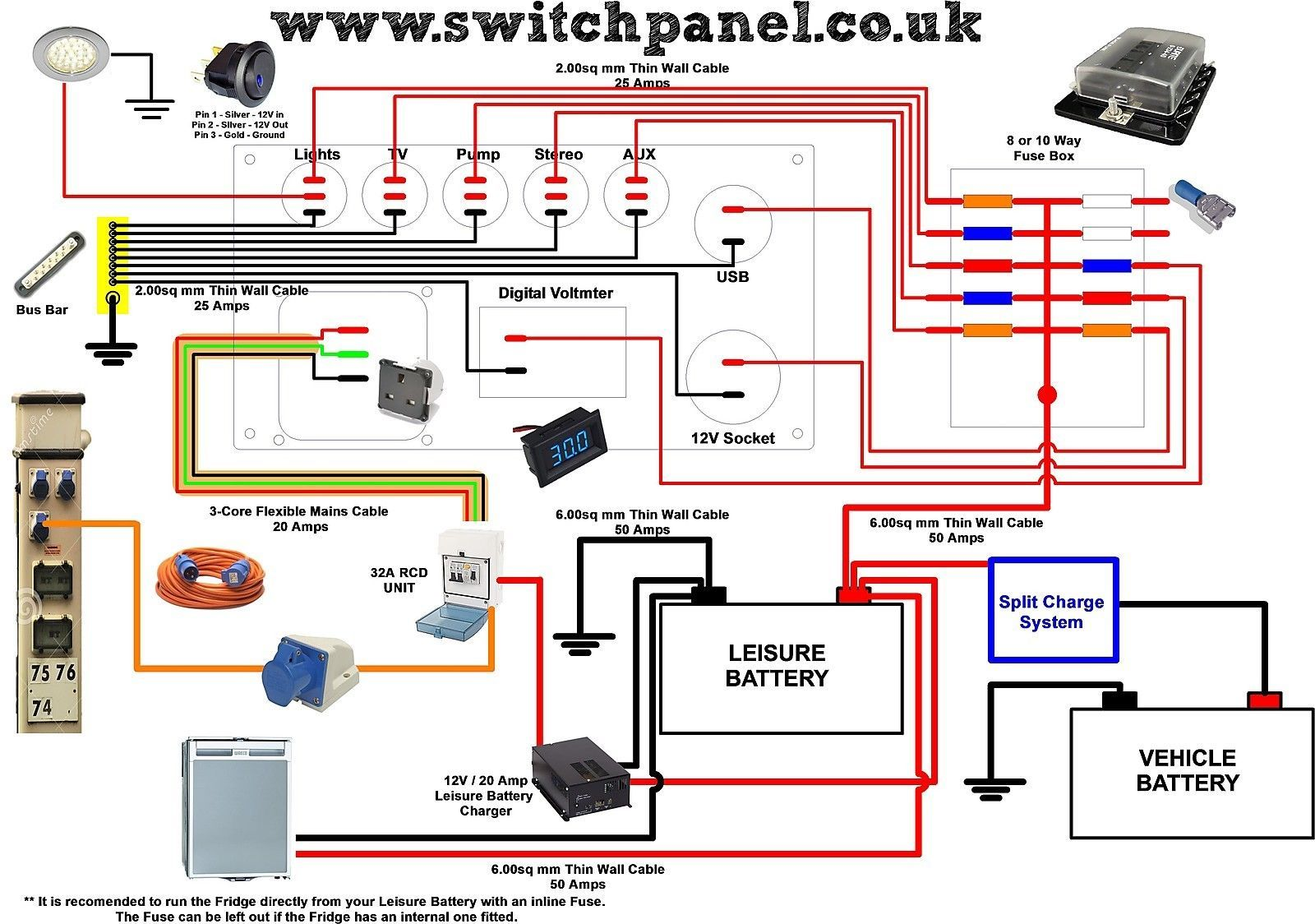 Camper Van Switch Panel Usb Vw Transporter Vito Bongo Marine Van Conversion